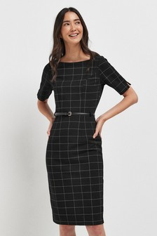 Check Bodycon Ponte Dress