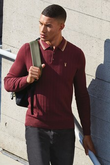 Plum Textured Knitted Polo