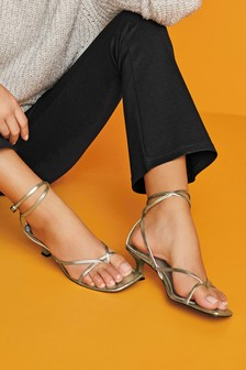 Silver Toe Post Ankle Wrap Sandals