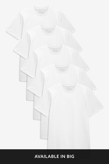 White Slim Fit Crew Neck T-Shirts Five Pack