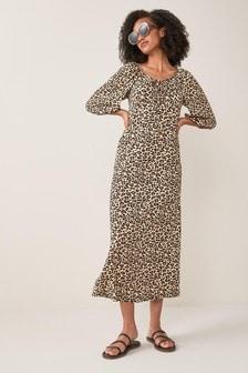 Brown Animal Puff Sleeve Midi Dress