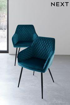 Opulent Velvet Dark Teal Set of 2 Hamilton Arm Dining Chairs With Black Legs