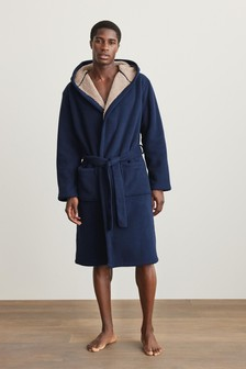 Navy Blue Borg Lined Hooded Dressing Gown