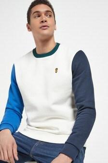 White Colourblock Arm Crew Neck Sweatshirt