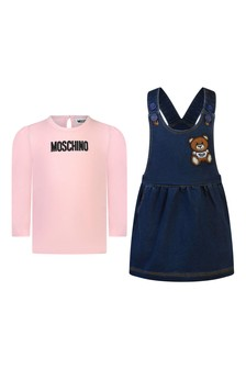 Baby Girls Pink T-Shirt & Denim Fleece Dress Set