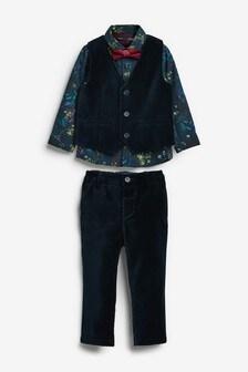 Navy Velvet Waistcoat & Trousers Set (3mths-7yrs)