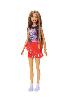 Barbie Fashionistas Doll with Long Braided Hair Wearing Girl Power T-Shirt, Red Pleather Skirt & Accessories