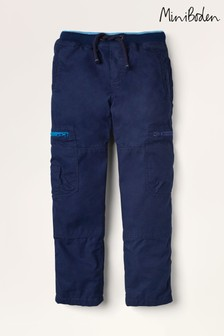 Mini Boden Navy Cosy Lined Cargo Trousers