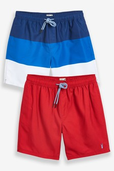 Red/Blue Block Swim Shorts Two Pack