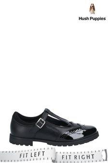 Hush Puppies Black Maisie Buckle School Shoes