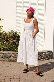 White Square Neck Dress