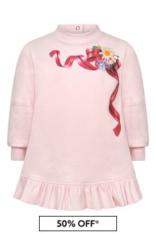 Baby Girls Pink Cotton Flower Bow Dress