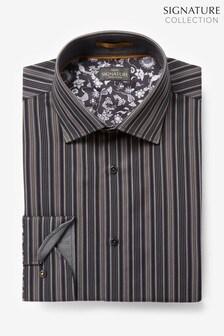 Black/Gold Regular Fit Single Cuff Stripe Signature Trimmed Shirt