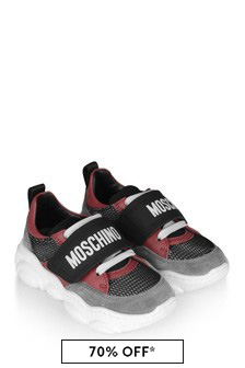 Black/Red Logo Trainers