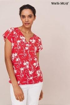 White Stuff Pink Nelly Notch Neck T-Shirt