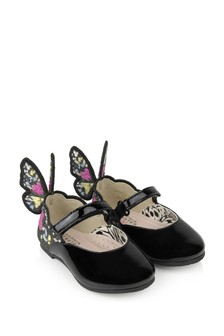 Girls Black Leather Chiara Embroidered Shoes
