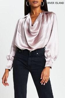 River Island Pink Medium Long Sleeve Cowl Top