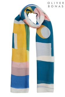 Oliver Bonas Blue Holiday Abstract Print Lightweight Scarf