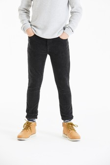 Charcoal Skinny Fit Cord Trousers (3-16yrs)