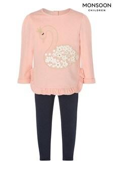 Monsoon Baby Swan Sweatshirt And Leggings Set
