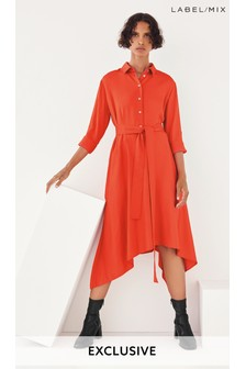 Mix/Marques'Almeida Red Satin Shirt Dress