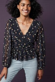 Black Floral Long Sleeve Mesh Top