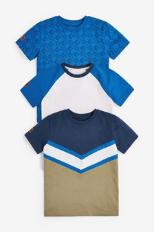 Blue 3 Pack Colour Block Short Sleeve T-Shirts (3-16yrs)