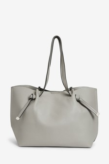 Grey Knot Detail Shopper Bag