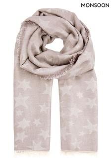 Monsoon Grey Star Jacquard Blanket Scarf