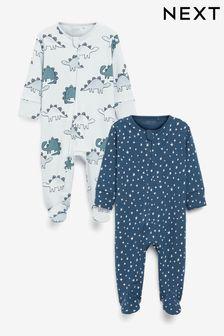 Blue Dinosaur 2 Pack Zip Sleepsuits (0-3yrs)