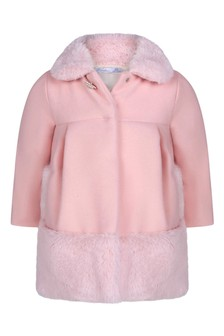 Baby Girls Pink Coat With Faux Fur Detail