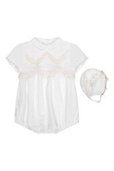 Miranda Baby Girls Cream Cotton Romper Set