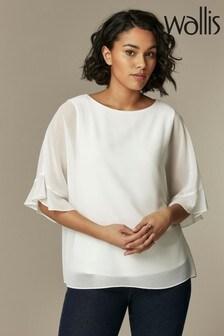Wallis White V-Neck Frill Overlayer Shirt