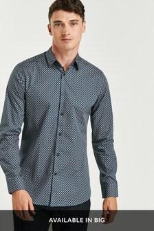 Navy Slim Fit Geometric Print Shirt