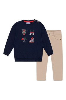 Baby Boys Navy Jumper And Trousers Set