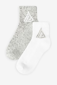 Grey/White Cushioned Sole Cropped Ankle Socks Two Pack