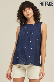 FatFace Blue Esther Sparkle Embroidered Cami