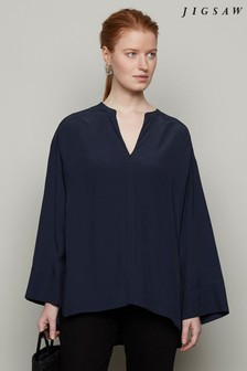 Jigsaw Blue Pleat Back Tunic Top