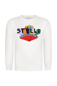 Girls Ivory Logo Print Sweater