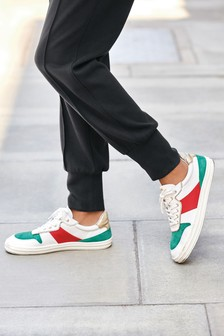White/Green Signature Retro Leather Lace-Up Trainers