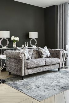 Distressed Velour French Grey Alpha Large Sofa With Black Feet