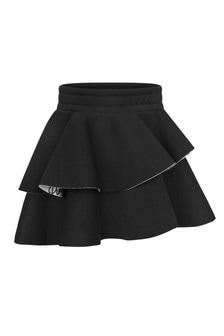 Girls Black Neoprene Ruffle Skirt