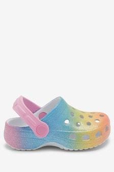 Rainbow Glitter Clogs