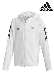 adidas White Mo Salah Zip Through Hoody