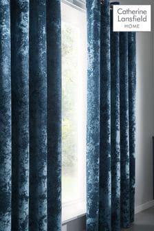 Catherine Lansfield Teal Crushed Velvet Eyelet Curtains