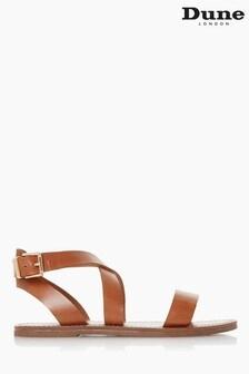 Dune London Tan Leelah Cross Over Strap Sandals