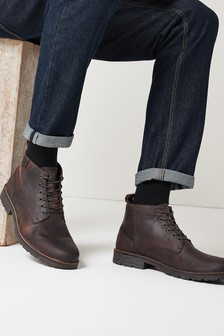 Brown Leather Tab Lace-Up Boots