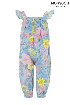 Monsoon Blue Baby Floral Romper In Pure Cotton