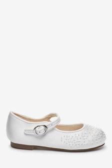Ivory Satin Embellished Mary Jane Occasion Shoes