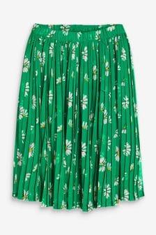 Green Daisy Floral Pleated Skirt (3-16yrs)